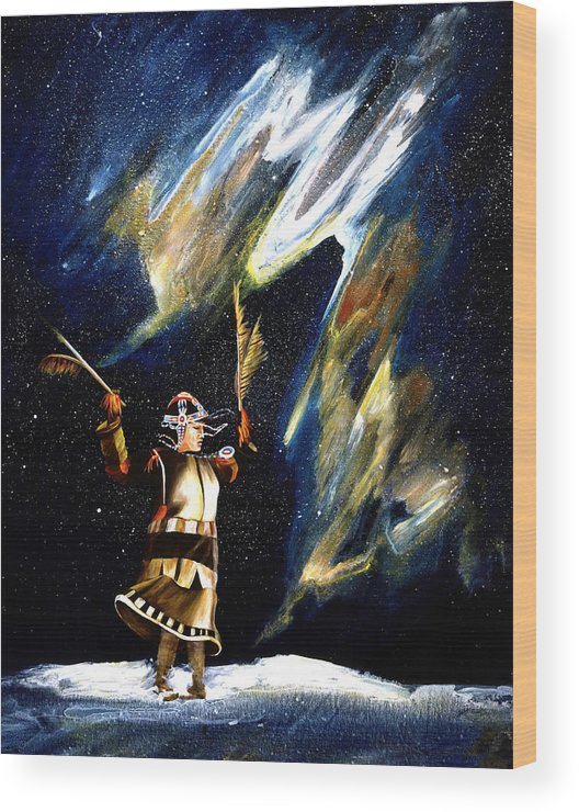Alaska Wood Print featuring the painting Aurora Dancer by Dianne Roberson