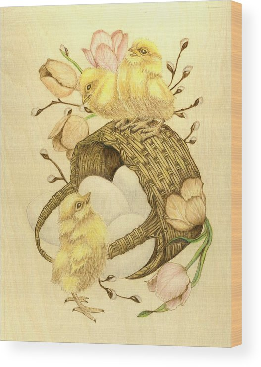 Chicks Wood Print featuring the pyrography Baby Chicks by Danette Smith