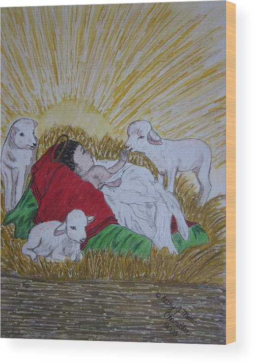 Saviour Wood Print featuring the painting Baby Jesus At Birth by Kathy Marrs Chandler