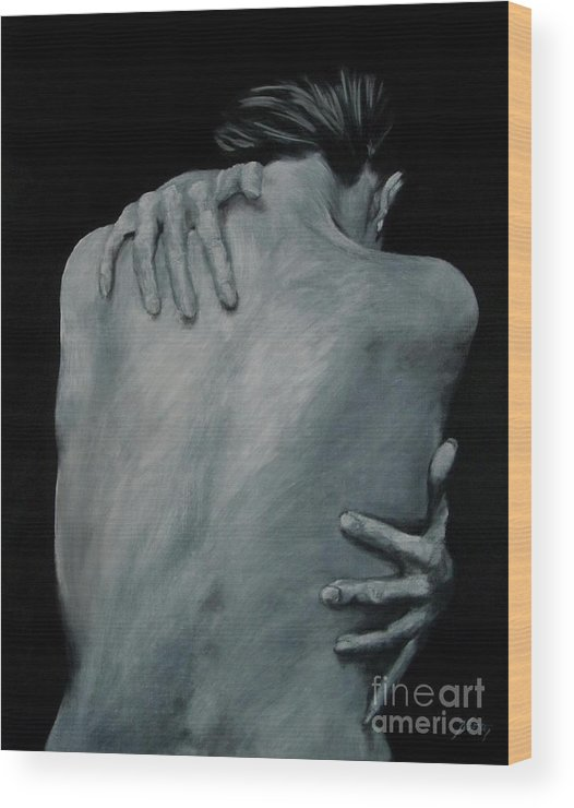 Nude Wood Print featuring the painting Back Of Naked Woman by Jindra Noewi