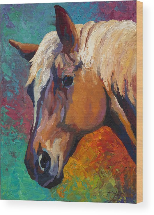 Horses Wood Print featuring the painting Bandit by Marion Rose