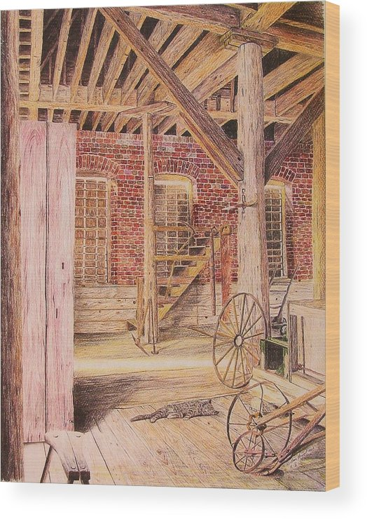 Cat Wood Print featuring the drawing Barn Cat by Dan Hausel