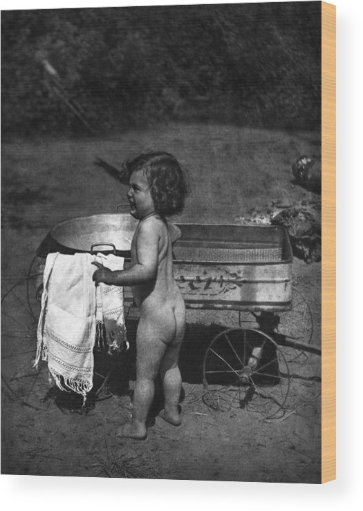 Children Wood Print featuring the photograph Bathtub With Wheels by Unknown