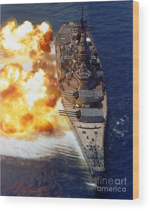 Vertical Wood Print featuring the photograph Battleship Uss Iowa Firing Its Mark 7 by Stocktrek Images