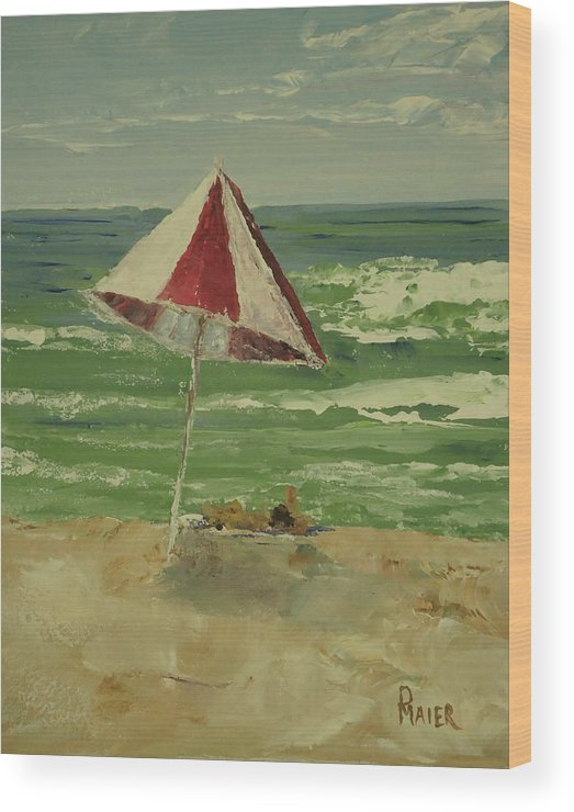 Seascape Wood Print featuring the painting Beach Day by Pete Maier