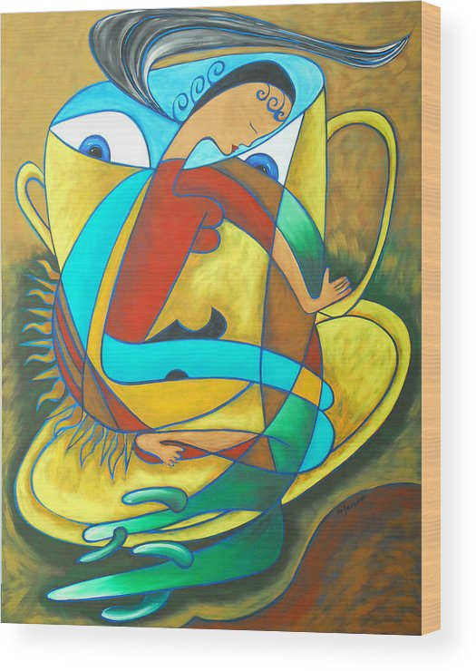 Abstract Expressionism Wood Print featuring the painting Bean Spirit by Marta Giraldo