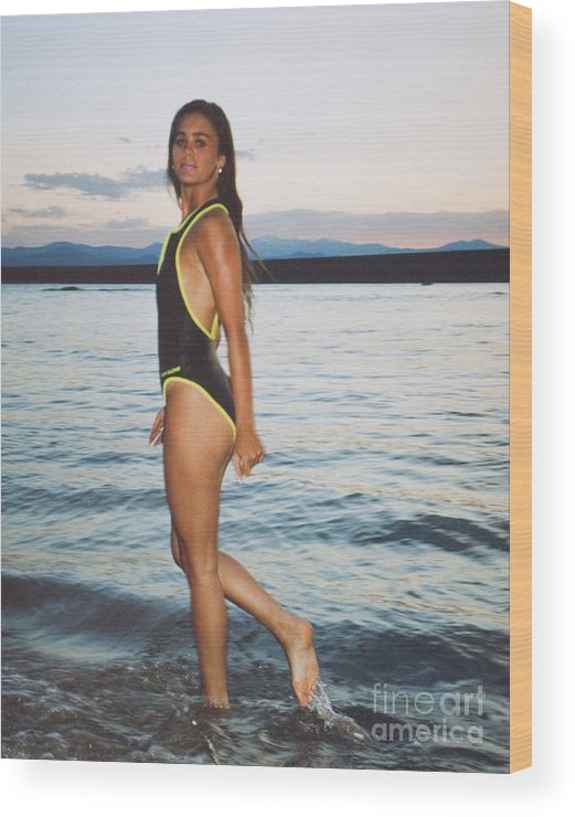 Brunette Wood Print featuring the photograph Beautiful Brunette On The Beach by Steve Krull