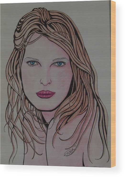 Portrait Wood Print featuring the painting Beauty 1 by Joshua Armstrong