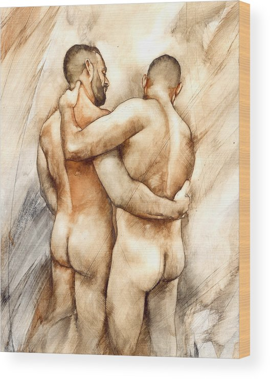 Male Nude Wood Print featuring the painting Bill And Mark by Chris Lopez