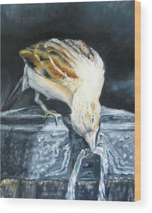 Oil Painting On Canvas Wood Print featuring the painting Bird Original Oil Painting by Natalja Picugina