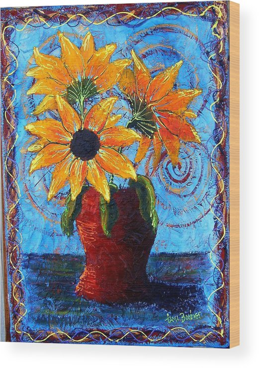 Wood Print featuring the painting Blazing Sunflowers by Tami Booher