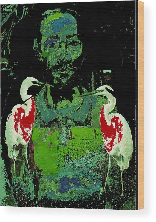 Birds Wood Print featuring the painting Bleeding Birds by Noredin Morgan