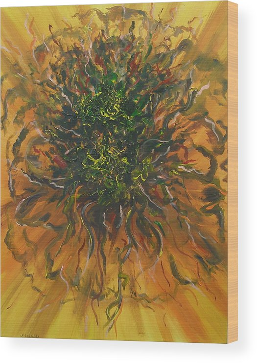 Abstract Wood Print featuring the painting Blooming Flowers by Miroslaw Chelchowski