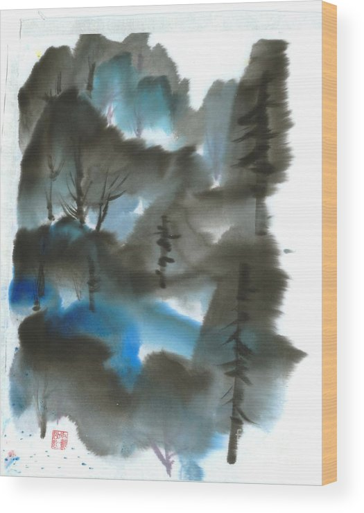 A Forest With A Tint Of Blue. This Is A Contemporary Chinese Ink And Color On Rice Paper Painting With Simple Zen Style Brush Strokes.  Wood Print featuring the painting Blue Forest by Mui-Joo Wee