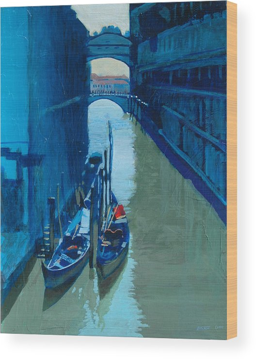 Italy Wood Print featuring the painting Blue Gondolas by Robert Bissett