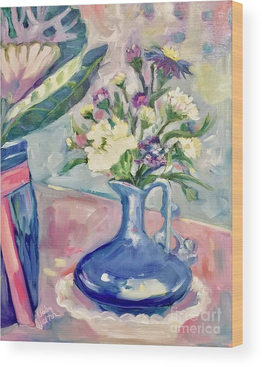 Blue Vase Wood Print featuring the painting Blue Vase by Patsy Walton