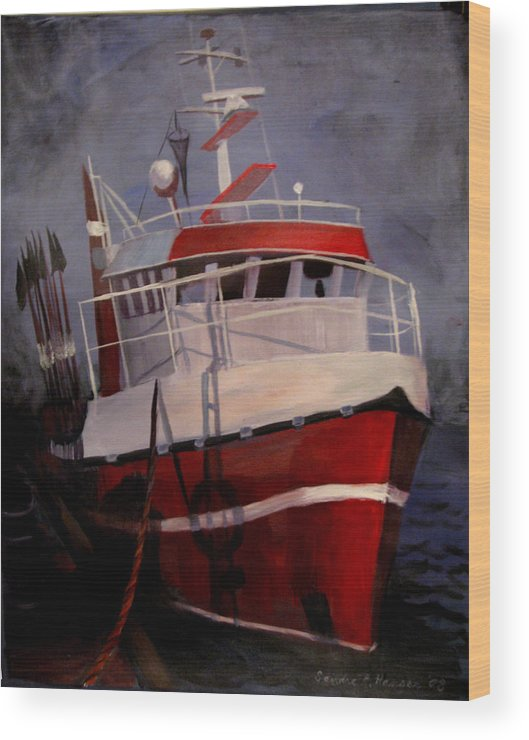 Fishing Wood Print featuring the painting Bold Power by Art Nomad Sandra Hansen