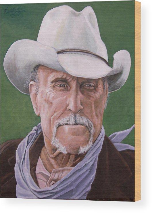 Cowboy Wood Print featuring the print Boss Spearman 2 by Kenneth Kelsoe