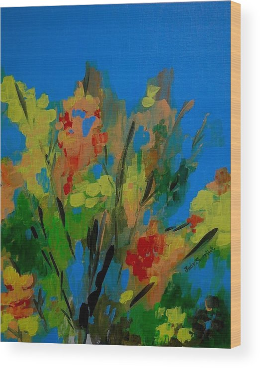Nature Wood Print featuring the painting Bright Flowers On Blue by Judy Swerlick