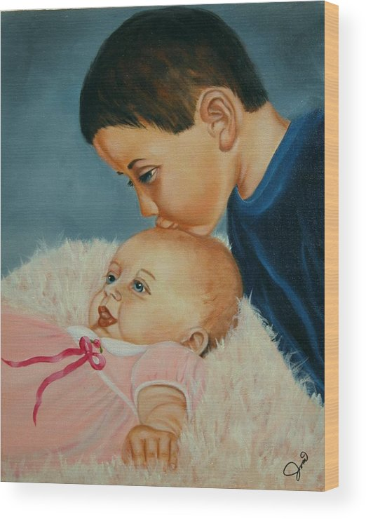 Children Wood Print featuring the painting Brother And Sister by Joni McPherson