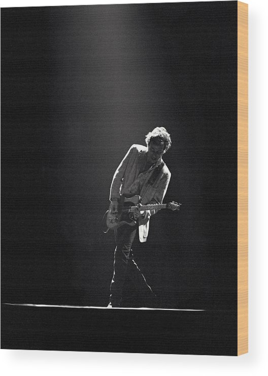 Bruce Springsteen Wood Print featuring the photograph Bruce Springsteen In The Spotlight by Mike Norton