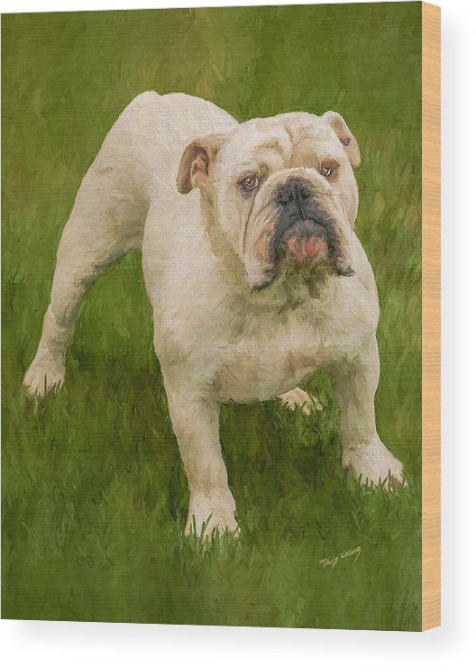 Dog Wood Print featuring the painting Bruce The Bulldog by David Wagner