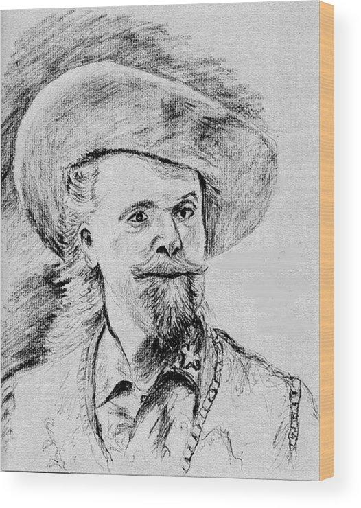Buffalo Bill Wood Print featuring the drawing Buffalo Bill by Stan Hamilton