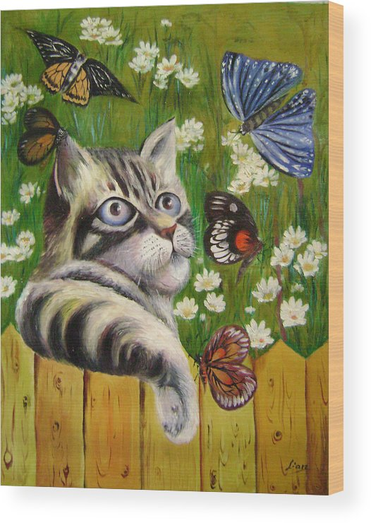 Fantasy Wood Print featuring the painting Butterfly Dream by Lian Zhen