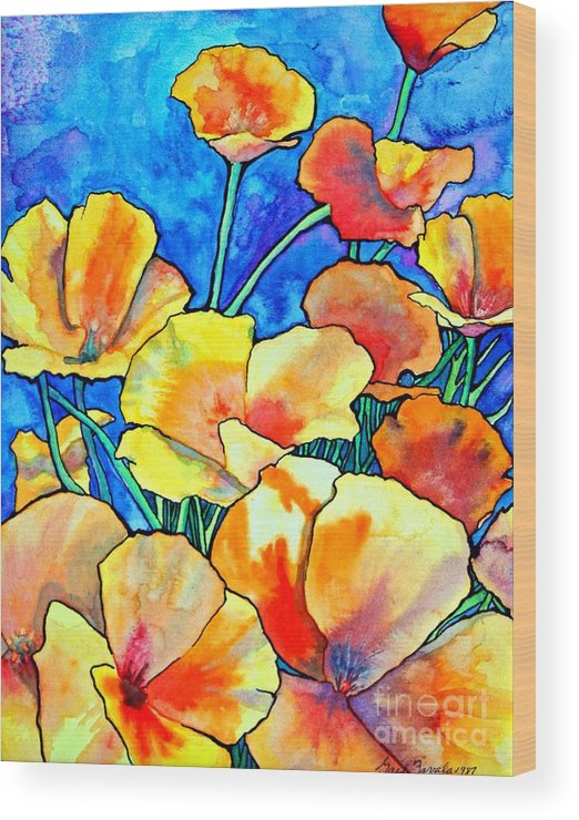 Floral Wood Print featuring the painting California Poppies by Gail Zavala