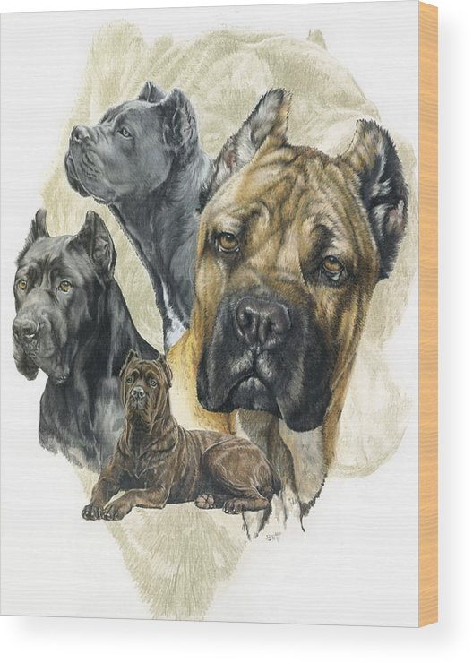 Working Wood Print featuring the mixed media Cane Corso Medley by Barbara Keith
