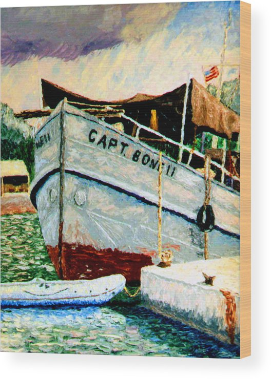 Ship Wood Print featuring the painting Captain Bones by Stan Hamilton