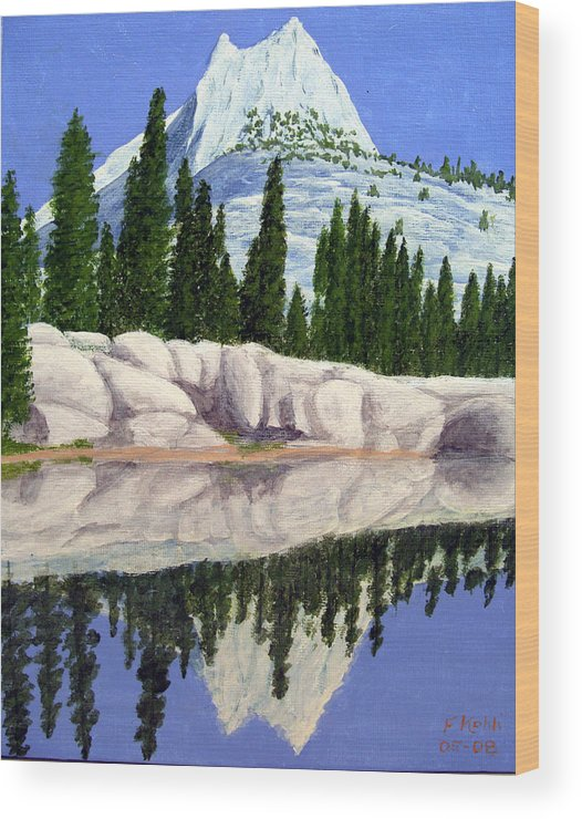 Landscape Paintings Wood Print featuring the painting Cathedral Peak by Frederic Kohli
