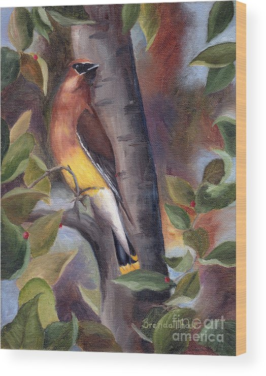 Bird Wood Print featuring the painting Cedar Waxwing by Brenda Thour