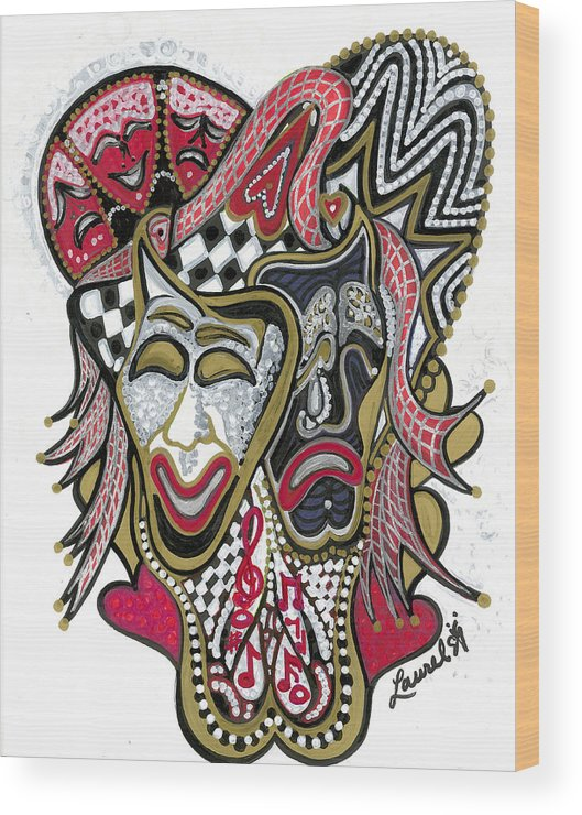Tragedy Wood Print featuring the painting Celebration - X by Laurel Rosenberg