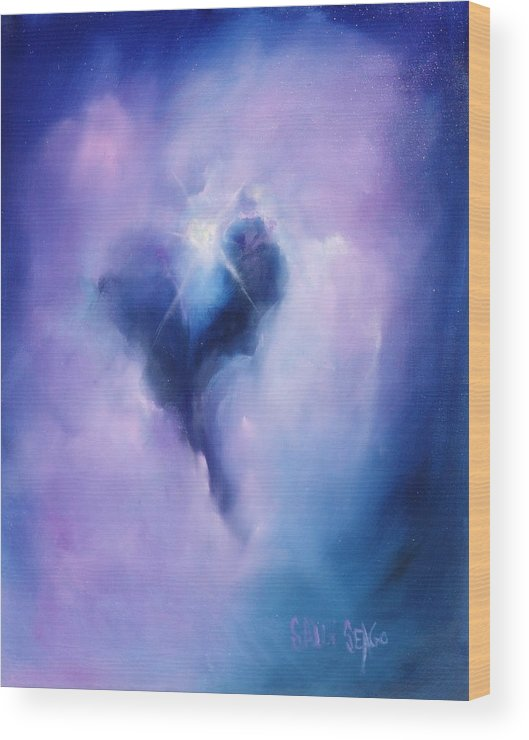 Celestial Wood Print featuring the painting Celestial Heart by Sally Seago