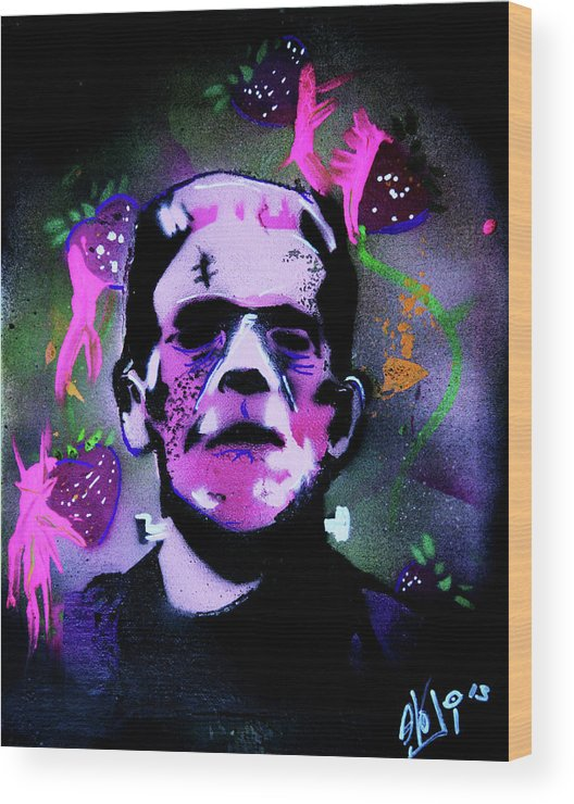 Cereal Killers Wood Print featuring the painting Cereal Killers - Frankenberry by eVol i