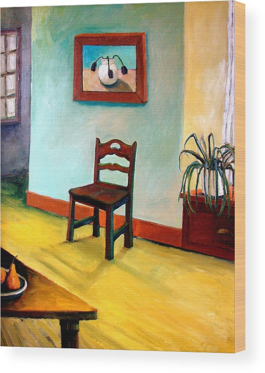 Apartment Wood Print featuring the painting Chair And Pears Interior by Michelle Calkins