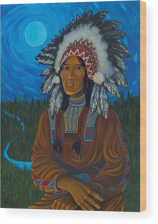 Chief Wood Print featuring the painting Chief Before Campfire by Arnold Isbister