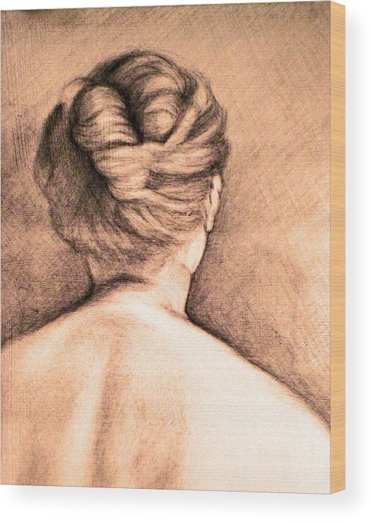Woman Wood Print featuring the drawing Chignon by Karen Coggeshall