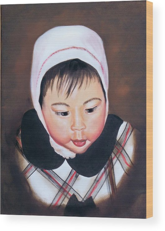 Oil Painting Wood Print featuring the painting China Doll by Joni McPherson