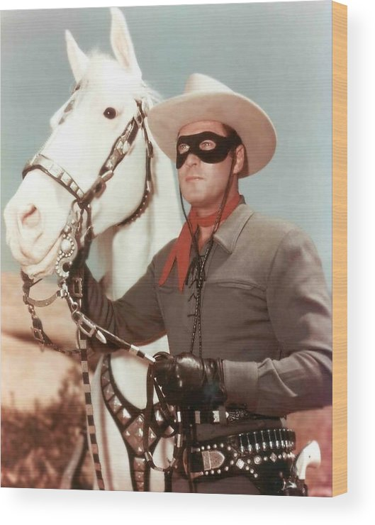 Cowboy Art Wood Print featuring the photograph Claytn Moore The Lone Ranger by Peter Nowell