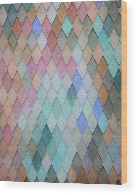 Erica Wood Print featuring the painting Colored Roof Tiles - Painting by Ericamaxine Price