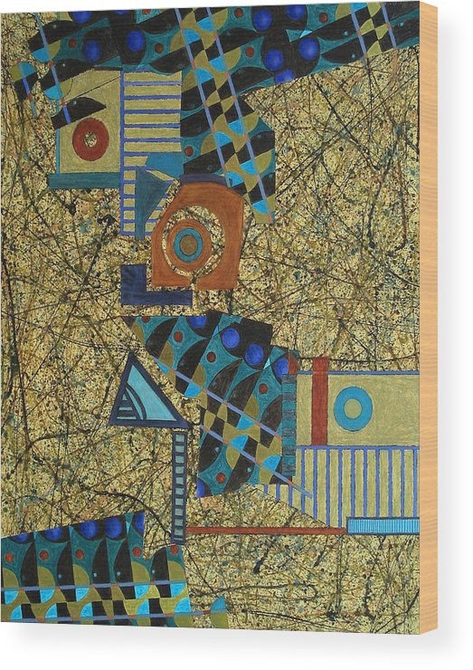 Wood Print featuring the painting Composition Vi 07 by Maria Parmo
