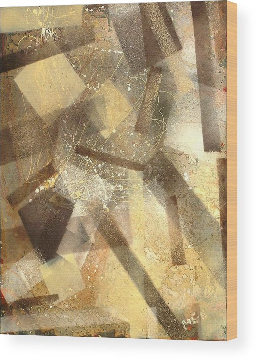 Abstract Wood Print featuring the painting Construction In Brown by Evguenia Men