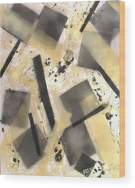 Abstract Wood Print featuring the painting Construction In Cream by Evguenia Men