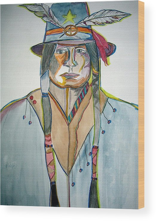 Southwest Wood Print featuring the painting Cool Hat by K Hoover
