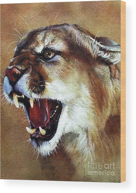 Southwest Art Wood Print featuring the painting Cougar by J W Baker