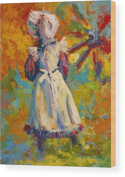 Figure Wood Print featuring the painting Country Girl by Marion Rose