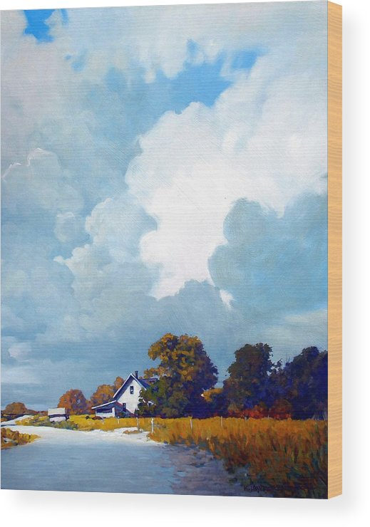 Landscape Wood Print featuring the painting Country Home by Kevin Lawrence Leveque