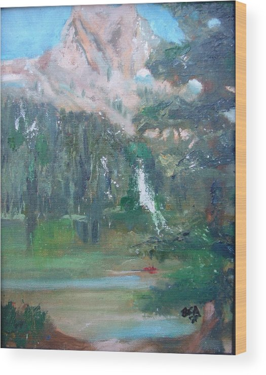 Lake Landscape Mountains Wood Print featuring the painting Crystal Craig At Pine Lake by Bryan Alexander